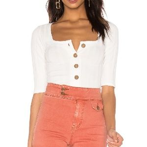 FREE PEOPLE Central Park Ribbed Button Front Top